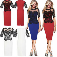 Womens Black Embellished Lace Dress Ladies Evening Cocktail Party Pencil Dress