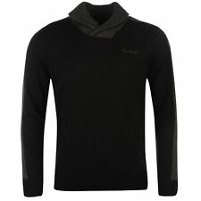Pierre Cardin Mens Knit Jumper Ribbed Pullover Long Sleeve Shawl Neck Top