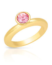 NEW PILGRIM SKANDERBORG, DENMARK Pink Crystal Ring in Yellow Base Metal