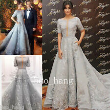 Vintage Embroidery Evening Party Dresses Half Sleeve Celebrity Formal Prom Gown
