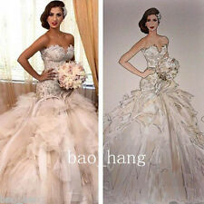 HOT! NEW Crystal Mermaid Wedding Dresses Luxury Long Train Bridal Gowns Custom