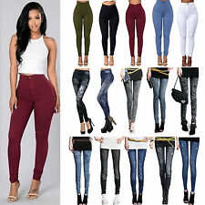Women Stretch Pencil Pants Denim Slim Hight Waist Casual Skinny Jegging Trousers