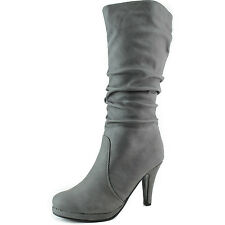 Mid Knee Slouched Boots Platform High Heel Round Toe Lady Dress Work Office Shoe