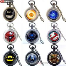 Steampunk Vintage Locket Pocket Watch Quartz Pendant Necklace Retro Chain Gift