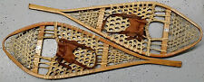 Large GROS LOUIS Tear Drop Rawhide Snowshoes w Leather Bindings,Cabin Wall Decor