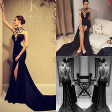 New Sexy Black Evening Dresses Beads Side Slit Backless Prom Formal Party Gowns