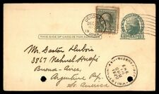 Uprated 1 cent postal stationery card Decorah Iowa mailed Argentina