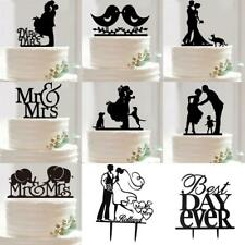 Acrylic Mr &Mrs Bride and Groom Love Birds Silhouette Wedding Cake Topper Party