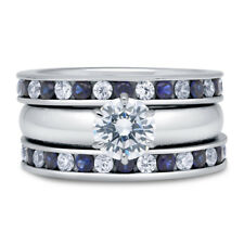 BERRICLE Sterling Silver Round CZ Solitaire Engagement Ring Set 2.61 Carat