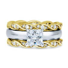 BERRICLE Sterling Silver Princess CZ Solitaire Engagement Ring Set 1.79 Carat