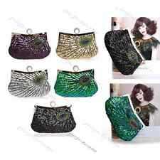 Sequin Beaded Rhinestone Peacock Evening Clutch Bag Wedding Party Purse Handbag
