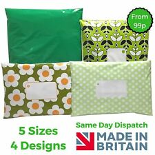 GREEN Post Postal Plastic Mailing Bags Postage Coloured - Polka Dot Floral Stars