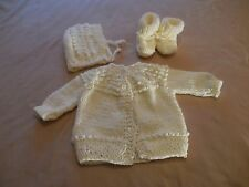 Antique White Sweater Hat Booties fits  Baby Dolls 19 to 21in.