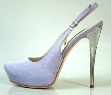 new $595 R & RENZI GIANMARCO LORENZI lilac platforms silver heel shoes - HOT