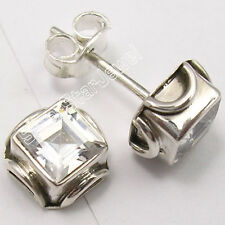 925 Sterling Silver SQUARE Cubic Zirconia Studs Earrings 0.7 CM ONE OF A KIND
