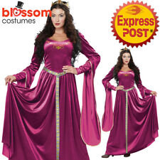 CA141 Burgundy Lady Guinevere Renaissance Queen Medieval  Maiden Gown Costume
