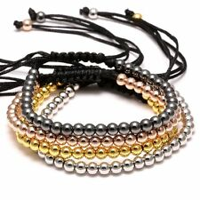 Hot Charms Punk Unisex Women Mens Leather Macrame Bracelet 18K 4MM Beads Jewelry
