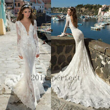 Long Sleeve Mermaid Wedding Dresses Sexy Plunging Neck Bridal Gown Dress Custom