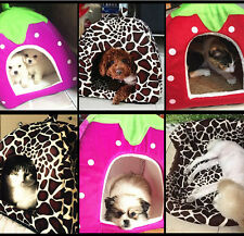 Pet Dog Cat Strawberry Bed House Kennel Puppy Warm Cushion Basket Soft
