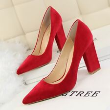 Ladies Sexy High Heels Shallow Pointed Block Party Women's Suede Nightclub Shoes