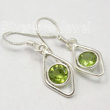 925 SOLID Silver Authentic FACETTED PERIDOT Gem FACTORY DIRECT Earrings 3.2 CM
