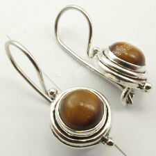 925 Solid Silver Cabochon BROWN TIGER'S EYE STYLISH Oxidized Earrings 1 inches