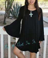 PLUS SIZE LITTLE BLACK BABYDOLL WING BELL SLEEVE BOHO MINI DRESS 1X 2X 3X
