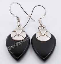 925 Sterling Silver Collectible BLACK ONYX OLD STYLE Dangle Earrings 3.6 CM NEW