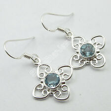 BLUE TOPAZ Earrings Pair !! 925 Pure Silver FACTORY PRICE Jewelry 3.4 CM 3 Grams