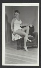 RISQUE vintage 1950s photo, SEXY YOUNG LADY WEARING SLIP SHOWS PRETTY LEGS #93