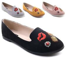 LADIES FLAT BALLET BALLERINA PUMPS LIPS DIAMANTE WOMANS WORK SCHOOL DOLLY SHOES
