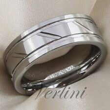 8mm Men's Tungsten Ring Polished Wedding Band Infinity Bridal Jewelry Size 6-15