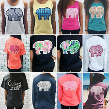 Women Crewneck Casual Elephant Printed Boho T-shirt Tank Top Tee Blouse Pullover