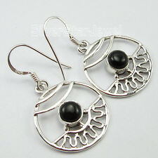 92.5% PURE Solid Sterling Silver Rare BLACK ONYX MADE IN INDIA Earrings 3.7 CM