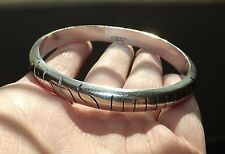 "Vintage STERLING SILVER Thick Taxco 8-1/2"" Bangle Bracelet - 25.4 GRAMS, L@@K!"