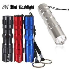 3W Police LED Mini Flashlight Light Lamp Torch W/Strap Camping (Fit AA battery)
