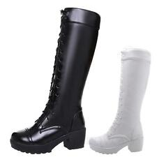 idomcats womens ladies Booties Vintage Combat Lace Up Victorian long Boots Size
