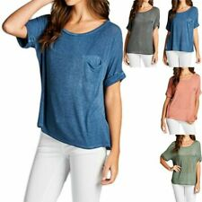 Baby Hacci Dirty Wash Dolman Short Sleeve Loose Fit Side Slit Top S M L