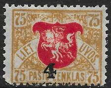 Lithuania stamps 1922 MI 116 part overprint missing  MLH  VF