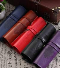 Vintage Pencil Pen Case Wrap Roll Cosmetic Pouch Pocket Brush Holder Makeup Bag