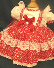 DREAM BABY ROMANY SPANISH  RED CHERRIES NETTED  DRESS NEWBORN UP TO AGE 2 YEARS