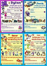 10 Personalised Children/Kids Birthday Party Invitations/Thank you with envelope