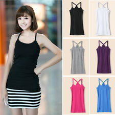 Lady Comfy Slim Bottoming Sling Blouses Vest Solid Strap Camisole T-shirt Tops