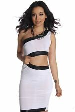 DEALZONE Sexy Faux Leather Accent Dress S M Small Medium Women White Cocktail