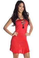 DEALZONE Gorgeous Sleeveless Ruched Dress S Small Women Red Career