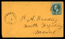 DOWNSVILLE WISCONSIN 1880S CANCEL ON NICE COVER TO MAINE 3C SINGLE FRANKING
