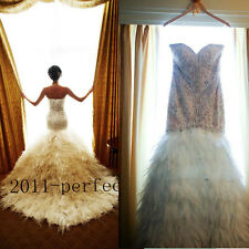 2017 New Luxury Mermaid Long Train Crystals Feather Wedding Dresses Bridal Gown