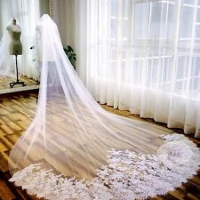 3 Meter White Ivory Cathedral Wedding Veils Long Lace Edge Bridal Veil with Comb
