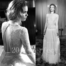 Sexy Backless Wedding Dresses Vintage Long sleeve Bridal Lace Gown Custom 2017