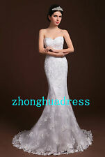 Stock White/Ivory Lace Wedding Dress Bride Gown Size 6 8 10 12 14 16 18 20 22 24